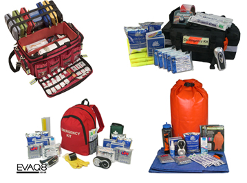 Standard and custom-made Emergency Kits and Emergency Food Kits for individuals, business and organizations | Emergency Food info for Emergency Food Storage and Emergency Food supplies, quality long-shelf life and self-heating emergency food from EVAQ8.co.uk the UK's Emergency Preparedness specialist